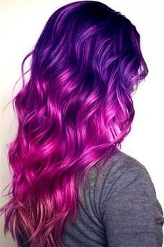 hair :) Purple Hair Hair care with Cosmetic Hair Treatments There are cosmetic treatments available Ombre Hair Color, Cool Hair Color, Magenta Hair, Hair Colors, Red Ombre, Purple And Green Hair, Pink Purple Blue Hair, Purple Dye, Pastel Hair