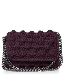 ONE & ONLY Burgundy Bubble Double Chain Crochet Bag < ΤΣΑΝΤΕΣ ΩΜΟΥ