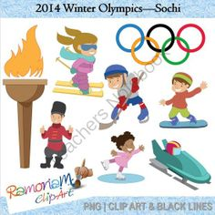 2014 Winter Olympics - Sochi from RamonaMClipArt on TeachersNotebook.com -  (24 pages)  - Winter Olympics Clipart