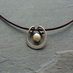 Silver and Pearl Pendant Necklace - Modern Pearl Necklace - Argentium Hand Forged Sterling Pendant With Leather Cord Necklace