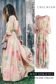 Floral maxi dress with spring scene - Fashion - Outfits Dressy Dresses, Elegant Dresses, Cute Dresses, Beautiful Dresses, Dressy Outfits, Chiffon Maxi Dress, Floral Maxi Dress, Boho Dress, Dress Up