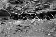 ISRAEL/SYRIA. Israeli Defense Minister Moshe DAYAN in a bunker, during an Israeli counter-attack on the Golan Heights. The bunker has just been captured from Syrians, then hit by their artillery. Magnum Photos Photographer Portfolio