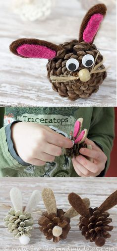 Fun & Easy Easter Crafts For Kids - FarmFoodFamily - Pine Cone Bunnies Pinecone Crafts Kids, Easter Crafts For Kids, Craft Stick Crafts, Easy Crafts, Pine Cone Crafts For Kids, Children Crafts, Creative Crafts, Craft Ideas, Rabbit Crafts