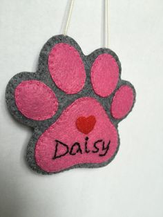 Personalized Paw Print Ornament / Hand Sewn Paw by FELTsofties
