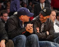 Image detail for -LOS ANGELES, CA - FEBRUARY 03: Leonardo DiCaprio (L) and Tom Hardy attend a game between the San Antonio Spurs and the Los Angeles Lakers at Staples Center...