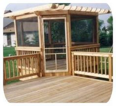 This is what I want for the Master Bedroom's private deck. The deck itself will most likely be enclosed, considering the weather here in Montana, but I plan to have a hot tub just for us on our deck. No stairs to the lawn, the only entrance would be through our room.