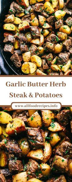Butter Garlic Potatoes, Garlic Butter Steak, Skillet Potatoes, Beef And Potatoes, Steak Recipes, Potato Recipes, Steak Bites, Healthy Eating Recipes, Casserole Recipes