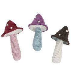 Soft Toy . Crochet Rattle - Mushroom / 3 Colour Options