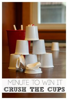 Minute to Win It Game Crush the Cups | Love this idea! The post has an amazing and fun video too that my kids loved! #crushthecups for your chance to win a trip to Hawaii Indoor Group Games, Group Games For Kids, Activities For Teens, Games For Teens, Indoor Activities, Family Games, Summer Activities, Toddler Activities, Olympic Games For Kids