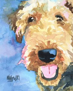 I want everyone who looks at one of my dog art prints to think it is an original watercolor.    That's why each print is printed on 100% cotton, heavy weight textured watercolor paper.    These prints have the look and feel of an original watercolor and are hand signed, by the artist, on the front border.