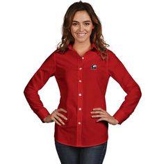 Northern Illinois Huskies Antigua Women's Dynasty Woven Long Sleeve Button-Up Shirt - Red