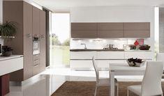 Modern kitchen cabinets from the Aran Cucine Terra collection. Apartment Interior Design, Modern Interior Design, Contemporary Design, Modern Kitchen Cabinets, Kitchen Furniture, Modern Kitchens, Cabinet Design, Table, Home Decor