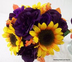 CUSTOM made to order FaLL Bridesmaid SiLK WeDDiNG Bouquets  SuN FLoWeRS aND Roses PuRPLe YeLLoW and oRaNGe WeDDiNG FLoWeRS. $199.00, via Etsy.