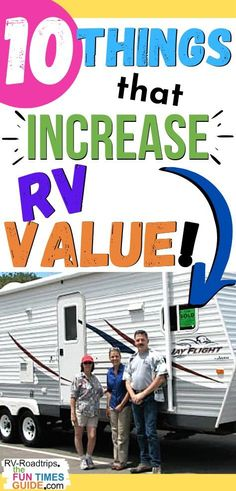 Here are 5 ways to increase RV resale value in the eyes of a professional RV dealer + 5 ways to increase RV resale value in the eyes of personal RV buyer -- for a total of 10 things that will increase the value of your RV camper! | rv value | sell rv | rv camper Rv Hacks, Travel Hacks, Camping Hacks, Camping Stuff, Travel Tips, Rv Cleaning, Used Rvs, At Home Furniture Store, Rv Dealers