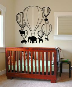 Vinyl Wall Decal Sticker Hot Air Balloon Animals #5059