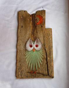 Vintage Owl String Art Wall Hanging van 2cool2toss op Etsy, $35,00