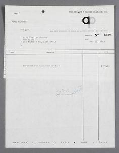 MARYLIN MONROE une facture de PUBLIC RELATIONS EXPENSE INVOICE résumant les dépenses pour The Arthur  P. Jacobs Company, Inc. montant de  $79.46  et daté du 31 Mai 1962. Divers associés d' Arthur Jacobs travaillaient pour worked for Marilyn du temps où elle vivait à New York jusqu'à sa mort