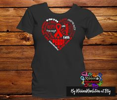 Red Heart Awareness Ribbon Shirts AIDS, Blood Cancer, Heart Disease, HIV, Stroke and Vasculitis Awareness