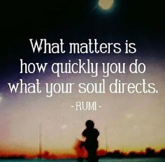 What matters is how quickly you do what our soul directs. Rumi