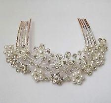 Elegant Bridal Wedding Crystal Hair Comb Flowers Rhinestone Pearl tuck Comb A1