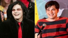 here are some offstage pictures of famous musicians that you won't recognize them until you see their onstage faces. Gerard Way, My Chemical Romance, Weird Gif, Famous Musicians, Funny Photos, Rock And Roll, Sari, Hollywood, Fictional Characters