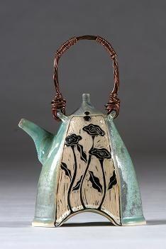 Renee Schwaller ~ Off the Potter's Wheel   Wildflower Teapot with Copper Handle