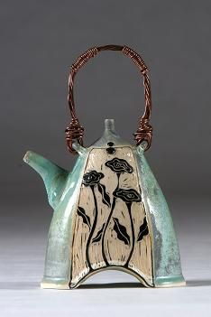 Renee Schwaller ~ Off the Potter's Wheel | Wildflower Teapot with Copper Handle