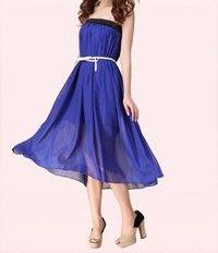 e953e3ae8c1 Women Chiffon Double Layer Pleated Long Skirt Boho Dress