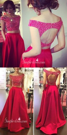 two piece prom dresses, 2017 prom dresses, long prom dresses, red prom dresses, evening dresses Sweet 16 Dresses, Simple Dresses, Pretty Dresses, 2 Piece Prom Dress, Dress Prom, Formal Evening Dresses, Dress Formal, Evening Gowns, Prom Dresses 2016