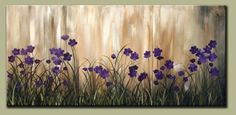 Purple Floral Abstract Floral Wall Art Painting Large by drobart