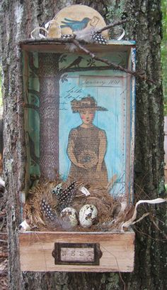 Nature shadow box created with cigar box and paper doll stamps, bird eggs, nest