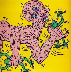 Haring, Keith / Untitled  1985  Acrylic on canvas  48 x 48 in