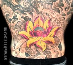 Lotus Flower and Koi Fish Tattoo by Marvin Silva #tattoos #koifish #lotusflower #backtattoos