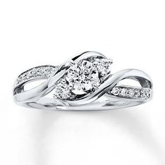 cool Three-Stone Ring 3/8 ct tw Diamonds 14K White Gold