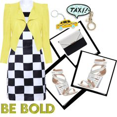 """""""Be Bold - How I Rock A Yellow Jacket"""" by latoyacl ❤ liked on Polyvore"""
