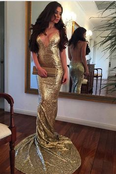 gold sequins mermaid prom dresses, unique backless evening dresses, deep v neck court train party dresses