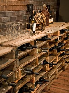 reused pallets into a wine rack