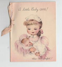 Vintage Baby Girl Pink Bow Nurse Congratulations Greeting Card