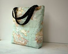 Limited edition world map large tote bag by merybradley on etsy big red oilcloth apple bag gumiabroncs Images