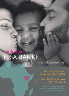 Adoption or Birth Announcement - Part of our adoption fundraiser to bring Elsa's brother/sister home!