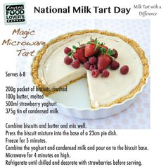 Milk Tart with a difference… Microwave Baking, Microwave Recipes, Oven Recipes, Tart Recipes, Baking Recipes, Microwave Combination Oven, Easy Desserts, Dessert Recipes, Melktert