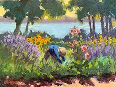 "Laurie Hendricks ""Harvesting Summer Blooms"" 11""x14"" Lavendar Painting, Bloom, Summer, Landscapes, Gardens, Oil, People, Impressionist Paintings, Paisajes"