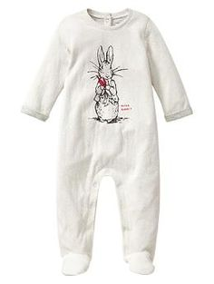 Peter Rabbit™ graphic footed one-piece | Gap $30  i love the new beatrix potter collection!