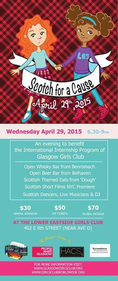 In light of the recent, tragic events in Nepal - Glasgow Girls Club are uniting with the Lower Eastside Girls Club for this event to help raise funds for our Girls Club Worldwide sisters in Kathmandu.   Join us in NYC on April 29th for this very worthy cause.   *Open beer bar by Belhaven Brewery *Whisky courtesy of Benromach *DJ *Silent Auction  *Music by Hannah Read and  *Highland Dancing from Shot of Scotch NYC
