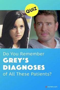 This trivia quiz will test your knowledge on how well you remember the diagnoses of all these Grey's patients. #greys #shondaland #greysLove #greysrandomQuiz #greysFan #meredithgrey #shonda #GreysAnatomy #greysquiz #greyscases #greyspatients #greysgueststars #greysnostalgia #greysAnatomyTrivia #medicaltvshows Medical Tv Shows, Callie Torres, Greys Anatomy Facts, Arizona Robbins, Cristina Yang, Trivia Quiz, Meredith Grey, Do You Remember, Quizzes