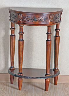 Small Demilune Accent Table In Stain Finish w Two Tiers, Hand Carving & Turned Legs