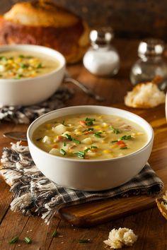 Hot Homemade Corn Chowder - Hot Homemade Corn Chowder in a Bowl