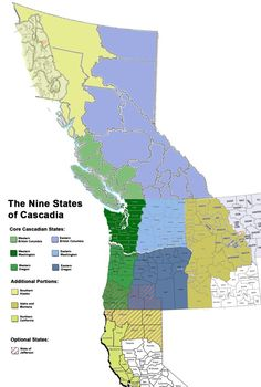 The 9 states of Cascadia - A proposed division of the Pacific Northwest