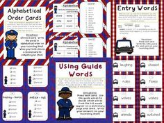 Dictionary Skills - Stop and Look It Up - 3 Activites  - This product contains three activities with a focus on dictionary skills: Alphabetical Order - Using Guide Words - Entry Words Answer key and student recording sheets are included for each activity.
