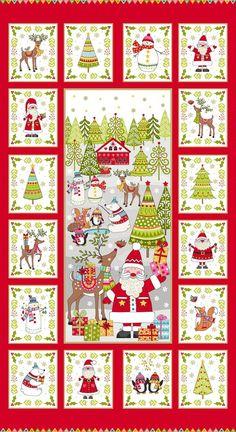 Makower 1971 Christmas  Scandi Pockets Advent Calendar Cotton Fabric 60cm Panel